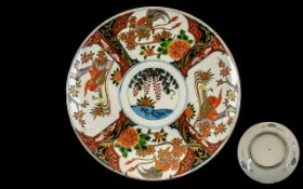Japanese Imari Plate decorated with ducks and birds amongst foliage. Circa 1900. Meiji period.