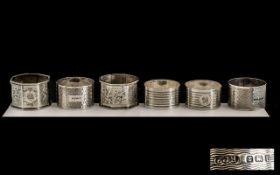 Silver Napkin Rings - three pairs of matching silver napkin rings all fully hallmarked for silver.