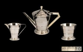 Art Deco Period Superb Silver Conical Shaped 3 Piece Tea Service - comprising teapot,