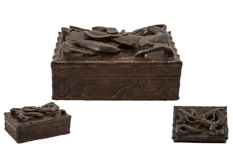 Lot 854 - Japanese Early 20th Century Finely Carved Wooden Lidded Trinket Box, The Top Cover with Applied