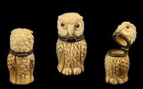 Superb Carved Ivory Hinged Lidded Pin Box - in the form of a barn owl with glass eyes.