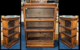 Three Tier Oak Wernicke and Company Sectional Bookcase with Lift off Top Cornice.