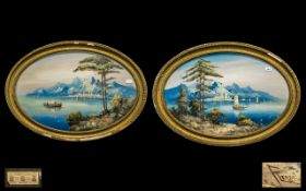 Large Pair of Italian Oval Neapolitan Watercolour Gouache Drawings of Mediterranean views of