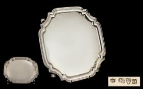 Art Deco Silver Square Shaped Tray Canted Concave Corners, Moulded Edge,