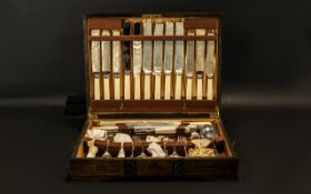 Boxed Canteen of Silver Plate Cutlery by Lloyd Payne & Amiel comprising knives with bakelite