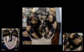 Stylish Ladies Vintage Fox Fur Shrug/Stole unusual design with shaped shoulders and fully lined in