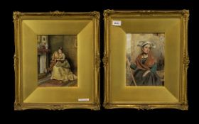 Kilburne - A Pair of Fine Quality Watercolour Drawings in Glazed Gilt Frames - mother and child in