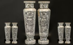 Chinese Modern Bone Stands with Incised and Carved Decorations, Depicting Birds and Flowers. 23