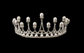 White Austrian Crystal and Simulated Pearl Tiara,