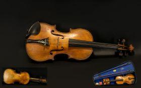 Antique Violin in Case label to interior