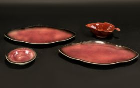 Carltonware - Four pieces of Ruby Patter