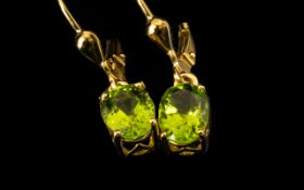 Peridot Solitaire Drop Earrings, oval so