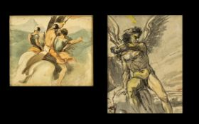 Pair of Antique Watercolour Sketches on