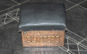 Edwardian Copper Fronted Slipper Box wit