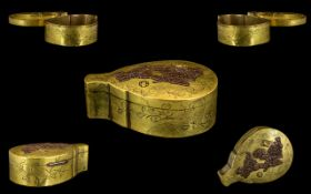 Japanese Antique Brass Lidded Box In The