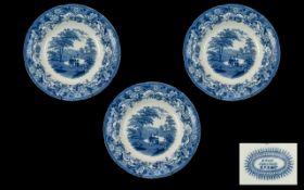 Three Staffordshire Antique Transfer pri