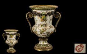 Ormolu Mounted Pottery Urn Shaped Vase,