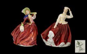 Royal Doulton Handpainted Pair of Porcel