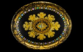 Early Victorian Paper Mache Oval Tray in