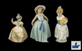 Lladro Porcelain Figures ( 3 ) In Total.