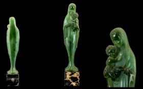 Rare Green Jade Faux Coloured Translucent French Art Deco 'Lucite' figure of the Madonna, detailed