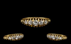 Antique Period 18ct Gold Attractive 5 Single Diamond Ring, Gallery Setting.