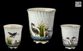 Meissen Porcelain Factory Hand Painted Porcelain - Vitreous Enamels Water Birds Cup. c.1800.
