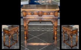 Small Oak Reproduction Two Drawer Side Table supported by turned baluster legs of typical Jacobean