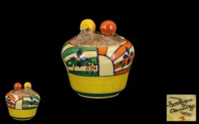 Clarice Cliff Hand Painted - Lidded Preserve Pot ' Abstract ' Range. Sunray Leaves ' Design.