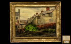 Alfred Thornton Oil on Canvas depicting a house with a garden bench and hedging.