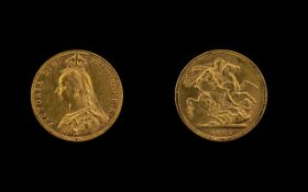 Queen Victoria Jubilee Head 22ct Gold Full Soverign Date 1887. Melbourne mint. Good grade.