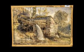 Watercolour Drawing of a Watermill with a man fishing in the foreground.