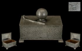 Golfing Interest Pewter Cigarette Box, the lid in the form of a golf ball,