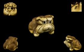 Japanese 19th Century Superb Ivory Carved Netsuke of a Japanese Bulldog - signed to underside of