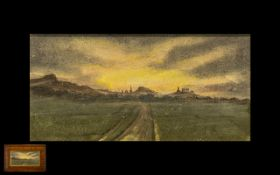 Crayon Pastel Drawing depicting a distant building on an Acropolis in the evening glow. Unsigned.