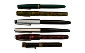 Small Mixed Lot Of Fountain Pens To Include A Burnham B48, Parker Slimfold + 1 Other, Platignum &