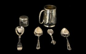 A Collection of Silver comprising of a Silver Spoon Exeter 1846 Pair Silver Butter Spoons Sheffield