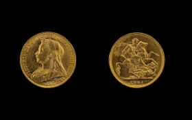 Queen Victoria Veiled Head 22ct Gold Full Sovereign. Melbourne mint. Date 1901.