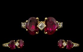 18ct Yellow Gold Attractive Sweethearts Rubies and Diamond Set Ring the two large heart shaped