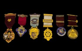 Masonic Interest - A trio of silver and enamel hallmarked Masonic medals (3) 1) Harmony Chapter no.