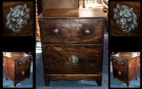 Georgian Flap Front Commode Chest the fitted interior missing. With turned knobs to the front.