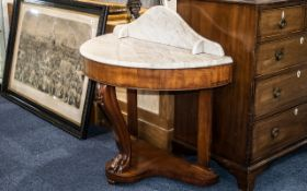 Victorian Bow Fronted White Marble Topped Wash Stand with a splash back on a mahogany base with a
