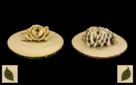 Ivory Meiji Period Carved Top Oval Lids finely executed on finials,