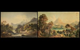 Watercolour Drawings. Two antique English drawings on paper depicting river landscapes with figures.