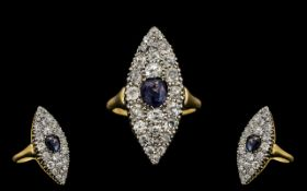 Edwardian Period 18ct Gold Attractive and Nice Quality Large Marquise Shaped Diamond and Sapphire