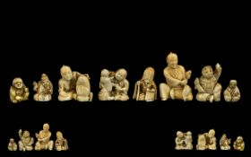 A Collection of Eight Antique Japanese Netsukes and Small Ivory Carved Figures comprising of four