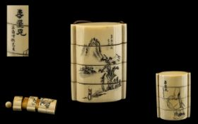 Japanese Meiji Period 1864-1912 Wonderful Quality Carved Ivory 4 piece inro.