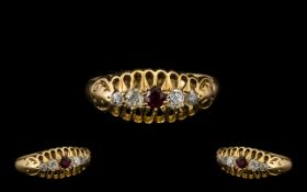 18ct Gold Attractive Edwardian Period 5 Stone Ruby & Diamond Set Ring.