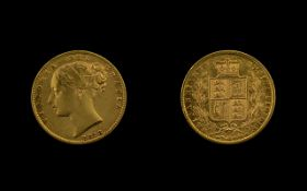 Queen Victoria Young Head Shield Back 22ct Gold Full Sovereign. Date 1873. Sydney mint.