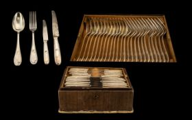 Anique Silver Plated Cutlery Set Velvet lined with two lift out fitted trays containing 24 knives,